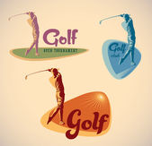 Set of vintage styled golf tournament labels Editable vector illustration