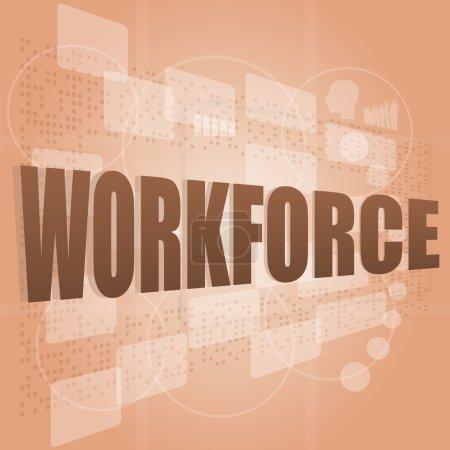 Photo pour Effectif des mots sur l'écran numérique, notion de travail social - image libre de droit