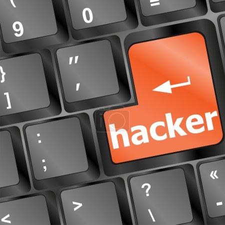 Hacker word on keyboard, cyber attack, cyber terrorism concept