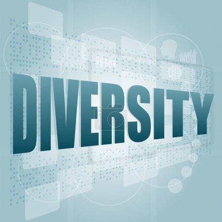 Photo pour Concept d'entreprise : pixélisé mots diversité sur écran digital - image libre de droit