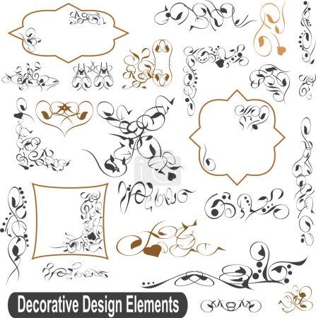 Photo pour Éléments de conception calligraphique, bordures et cadres fixés - image libre de droit