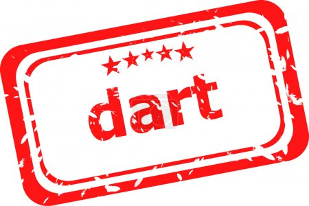dart word on red rubber old business stamp