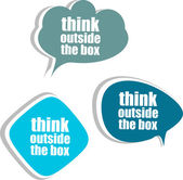 think outside the box. Set of stickers, labels, tags. Business banners, infographics