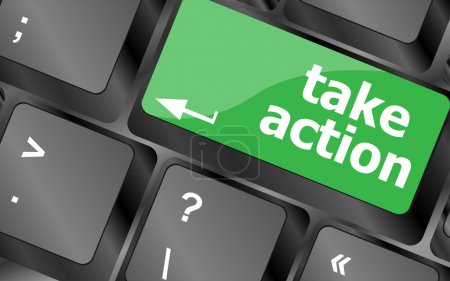Take action key on a computer keyboard, business concept