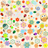 Seamless flower and owl background vector pattern
