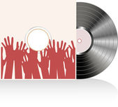 Vinyl disc cover in many human hands Vector