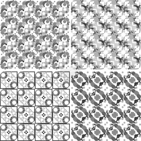Set of monochrome geometric seamless patterns. Vector