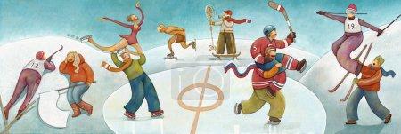Photo pour Illustration de fans de sports olympiques d'hiver soutenant leurs sportifs - image libre de droit