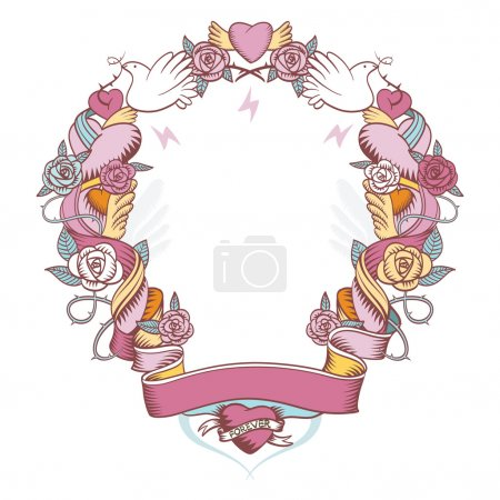 Pink vignette with doves, roses and hearts