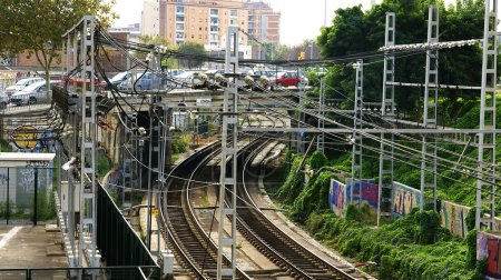 Roads, catenary wires and a railway underpass in Barcelona