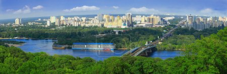 Photo pour Vue de la rive gauche du Dniepr à kiev, ukraine - image libre de droit