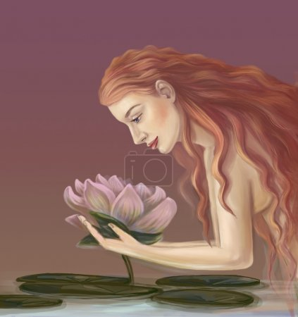 Girl with a lotus flower