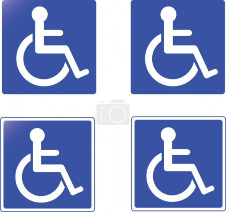 Collection of blue handicap signs vector