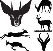 Antelope collection vector illustration silhouettes