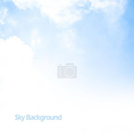 Photo for Image of blue sky background, fresh air, abstract natural border, text space, sunny day, cumulus clouds, open heaven, peaceful landscape, textured wallpaper, good weather - Royalty Free Image