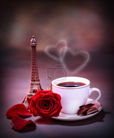 Photo for Picture of white cup with coffee and chocolate decorated with red rose on the table in Paris, romantic honeymoon, celebration anniversary in France, Valentine day holiday, love and romance concept - Royalty Free Image