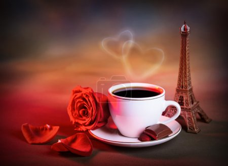Photo for Picture of white cup with morning tea in Valentine day, grunge background, red fresh rose, chocolate candy, decorative Eiffel tower, romantic travel, honeymoon in France, love and romance concept - Royalty Free Image