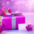 Picture of pink luxury gift box with bouquet of be...