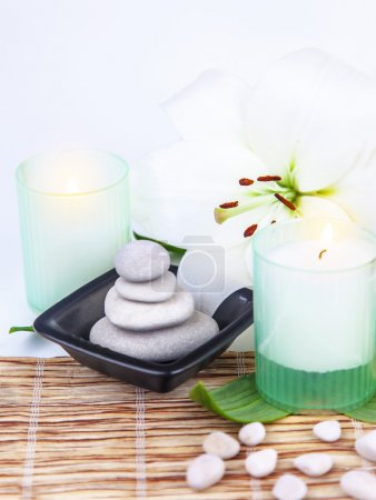 Spa stones and candle