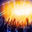Photo of young people having fun at rock concert, ...