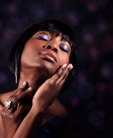 Photo for Closeup portrait of attractive sensual black woman with perfect makeup, luxury beauty salo - Royalty Free Image