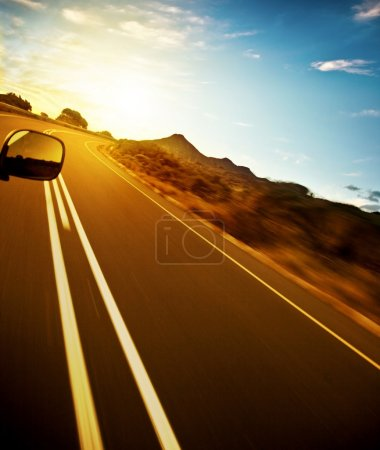 Photo for Road trip, car on the highway, speed drive, road-trip in sunny day, journey and freedom concept, travel and vacation - Royalty Free Image