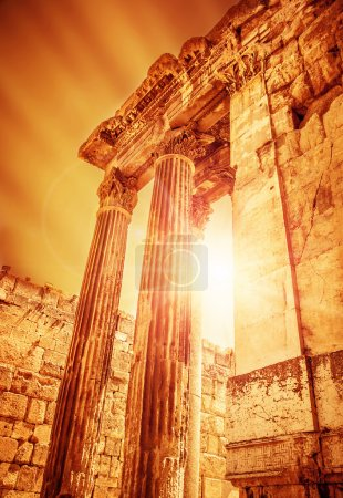 Photo for Temple of Jupiter on sunset, ancient historical roman city, Heliopolis ruins, Lebanon Baalbek, old columns architectural landmark, famous religious temple monument, travel and tourism concept - Royalty Free Image