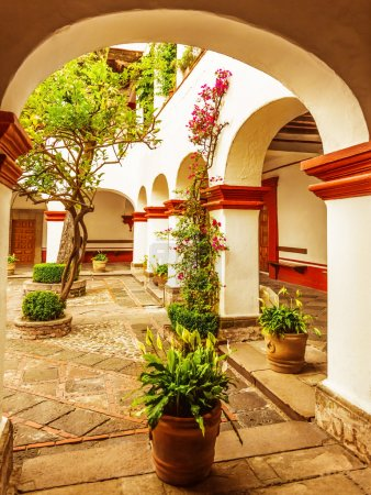 Photo pour Maison de campagne de luxe, belle arche décorée de fleurs et d'arbres frais, chalet confortable, aménagement paysager coûteux, extérieur mexicain traditionnel - image libre de droit