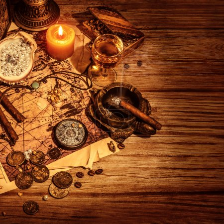 Photo for Pirates treasure border, glass with wine and cigars for filibuster, map with way to treasures island, golden coins, antique accessories, crime and piracy concept - Royalty Free Image