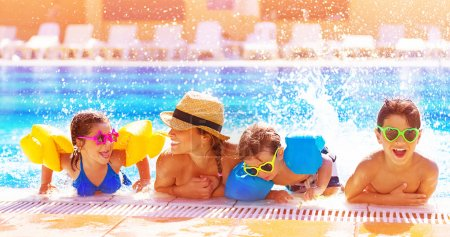 Photo for Active happy family having fun in the pool, spending time together in aquapark, summer holidays, joy and pleasure concept - Royalty Free Image