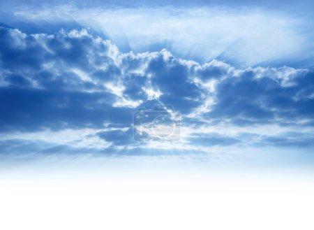 Sunrays through cumulonimbus clouds