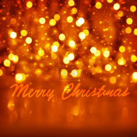 Photo for Merry Christmas greeting card, beautiful golden shiny background, blurry glowing lights, festive ornament, happy holidays concept - Royalty Free Image