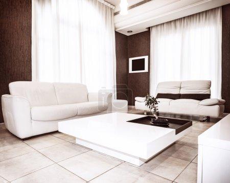 Photo pour Design d'intérieur moderne, couleurs blanches et marron dans des intérieurs plats, canapé et table de luxe avec peu de plantes dessus, appartement confortable - image libre de droit