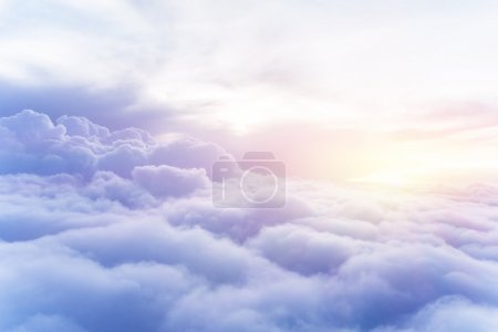 Photo for Sunny sky abstract background, beautiful cloudscape, on the heaven, view over white fluffy clouds, freedom concept - Royalty Free Image
