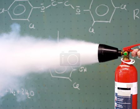 Fire extinguisher is used
