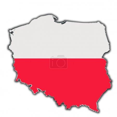 Photo pour Carte schématique de la Pologne couverte par le drapeau polonais - image libre de droit
