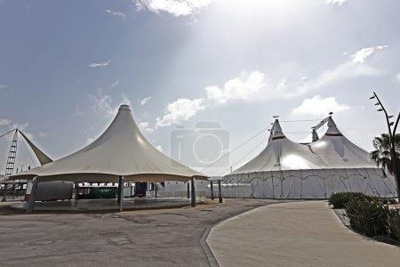 Huge white tent as an umbrella