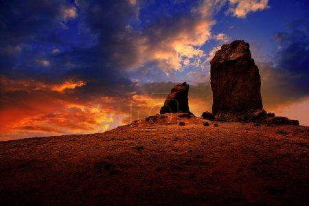 Gran canaria roque nublo dramatic sunset sky
