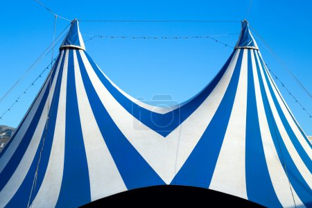 Circus tent stripped blue and white