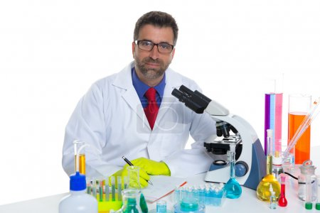 Chemical laboratory scientist man working portrait