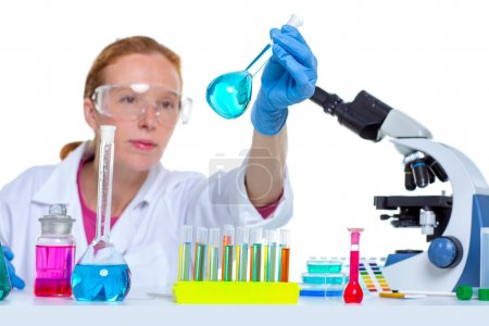 chemical laboratory scientist woman with glass flask