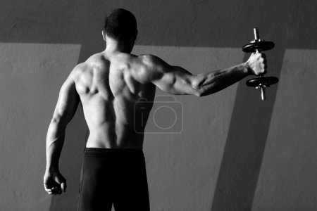 Photo for Dumbbell man rear view with back muscles in black and white - Royalty Free Image