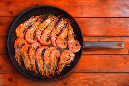 grilled shrimp seafood in round pan