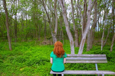 Lonely woman rear view looking to forest sitting on bench