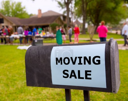 Photo for Moving sale in an american weekend on the yard green lawn - Royalty Free Image