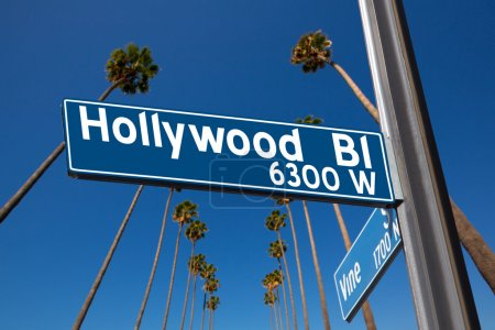 Hollywood Boulevard with sign illustration on palm trees