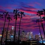 Downtown LA night Los Angeles sunset colorful skyl...