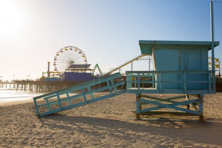 Photo for Santa Monica beach lifeguard tower in California USA - Royalty Free Image