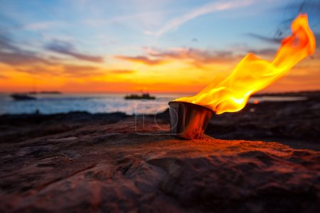 Ibiza fire at sunset in sant antonio de Portmany