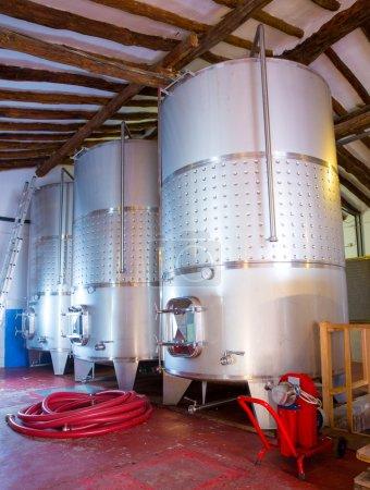 Stainless steel fermentation tanks vessels in winery